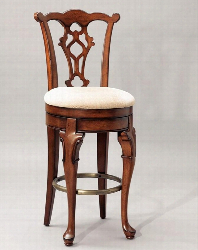"""Jamesto Wn Landing Collection 987-729 311"""" Swivel Armless Bar Stool With Cabriole Fron T Legs Carved Bow Top Back Rail And Upholstered Seat In Distressed Deep"""