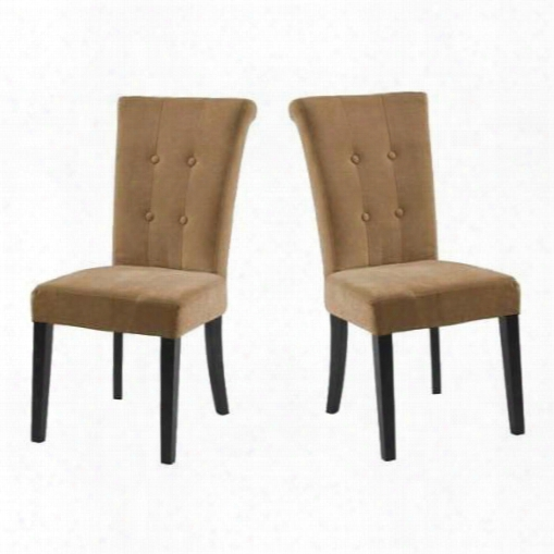 Lc3142simfto Set Of 2 Tuxford Side Chairs With Button-tufting Detail And Tobacco Fabric