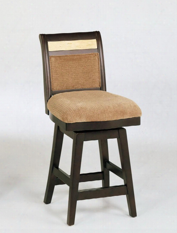 "Lcb385swbabe26 26"" Counter High Swivel Barstool With Espresso Wood Frame And Fabric Upholstery With Corallo Marble In Beige"