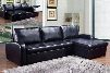 Hanley Collection 50185 Sectional Sofa with Reversible Chaise Tufted Seat and Bonded Leather Match Upholstery in Black
