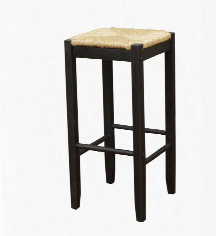 """Ratan Series 129883blk 29"""" Transitional Backless Wooden Counter Stool With Comfortable Seat And 1 Year Manufacturers Warranty Finished In Black With Natural"""