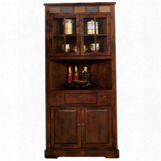 "Santa Fe Collection 2451dc 76"" Corner China Cabinet With Natural Slate Accents And Beehive Glass And Pull Knob Hardware In Dark Chocolate"