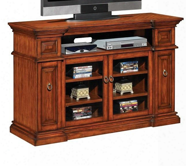 Tc60-053-c239 Waverly Entert Ainment Center With Adjustable Shelves Vented Magnetic Back Panels Framed Burl Edge And Tempered Glass Doors In Premium Pecan