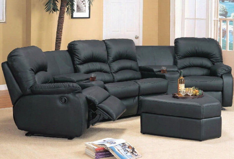 Ve4001br Ventura 4 Piece Bonded Leather Set 2 Recliner Chairs Love Seat And Ottoman In