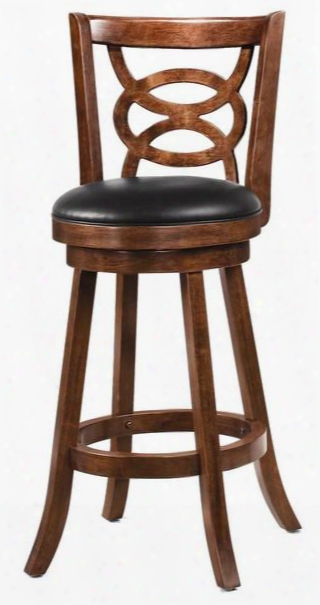 """101930 29"""" Swivel Bar Stool With An Intricately Crafted Wood Seat Back And Upholstered In Cappuccino Vinyl"""