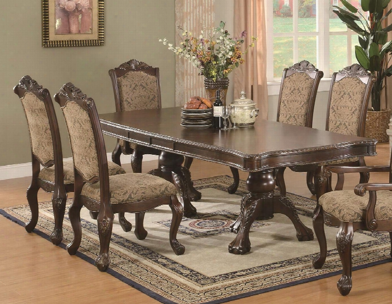103111set5 Andrea Traditional 5 Piece Set (tbl+4side) In Brown