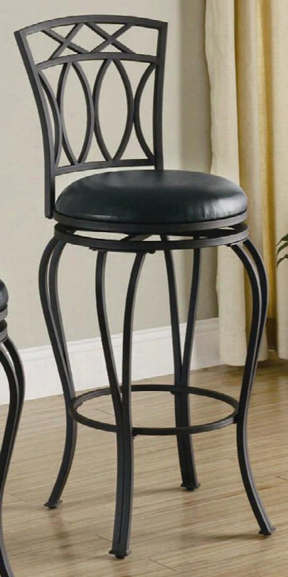 "122060 44"" Elegant Barstool With Metal Base Legs With Circle Footrest Upholstered With Black Faux Leather"