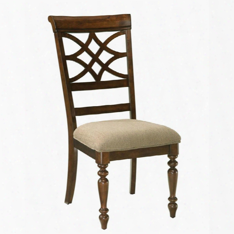 19 184 Woodmont Sidechair With Fabric Seat Upholstery Lattice Design And Carved Wood Legs In