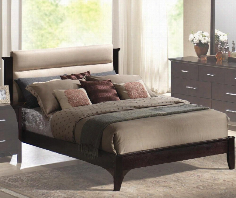 201291kw Kendra California King Size Upholstered Platform Bed With Plush Microfiber Headboard In Mahogany
