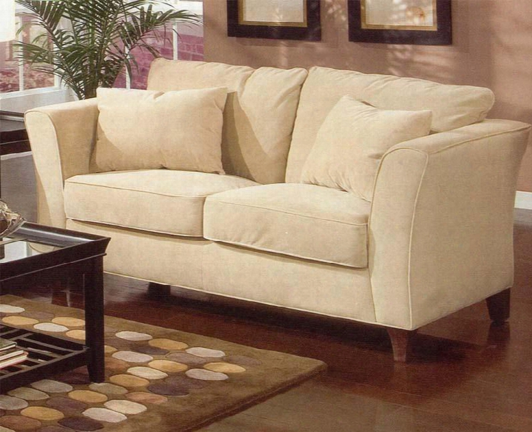 500232 Park Place Contemporary Love Seat With Flair Tapered Arms And Accent Pillows & In