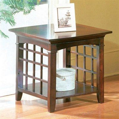 50312 Glasgow End Table With Lattice Sides And Bottom Storage Shelf In Dark Chocolate