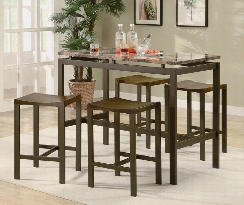 Atlus 150096 5pc Counter Height Table Set With 4 Backless Stools Marble Look Top And Metal Construction In Brown