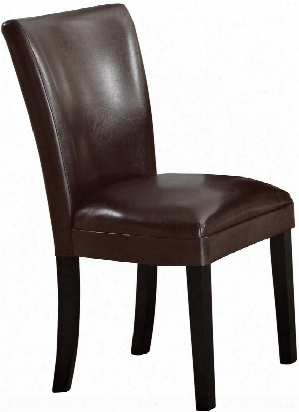"""Carter 102263 23.5"""" Dining Side Chairs With Cappuccino Tapered Legs Curved Shape Back Plush Seat And Leatherette Upholstery In Brown"""