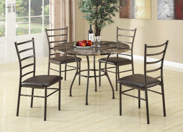 Dinettes 150112 5 Piece Dining Set Including Round Table And 4 Side Chairs With Faux Marble Top Faux Leather Seats And Stretchers In