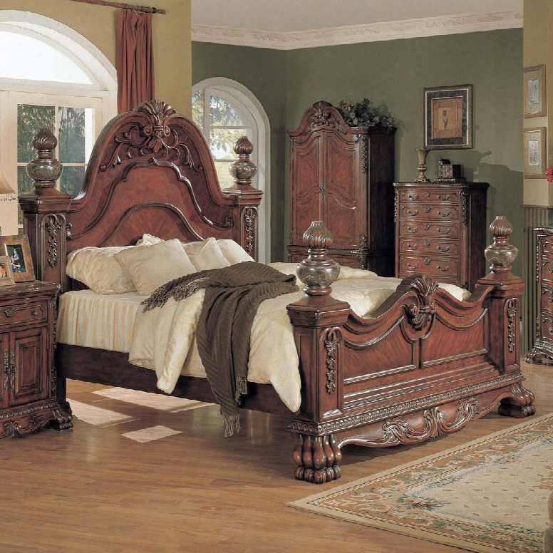 Kl6301k Kelsey King Bed With Marble Posts In Ignorance Cherry