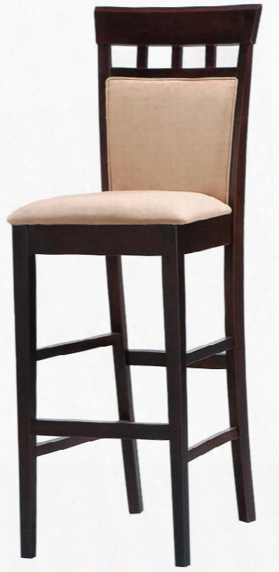 "Mix & Match 100220 29"" Bar Stool With Upholstered Panel Back Tapered Legs  And Grid Back Design In Cappuccino"