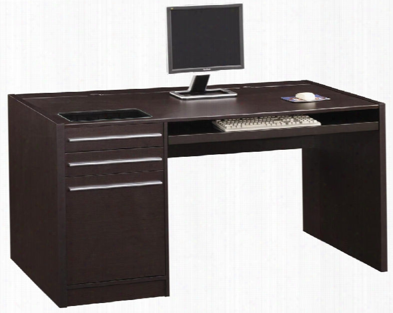 """Ontario 800982 60.25"""" Single Pedestal Desk With 3 Drawers Silver Handles Keyboard Tray Built-in Adapter Plug And Wire Management In Cappuccino"""