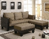 "300160 82"" Fulton Contemporary Sofa Bed Group with 2 Large Ottomans Vinyl Base with Microfiber Top and Back in Two-Tone Brown & Tan"