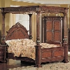 KA7601K Kamella King Canopy Poster Bed with Marble Detail in a Cherry and Ash Burl