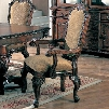 """Saint Charles 100133 26.5"""" Arm Chair with Cabriole Legs Flowing Scroll Arms and Diamond Quilted Fabric Upholstery in Deep Brown"""