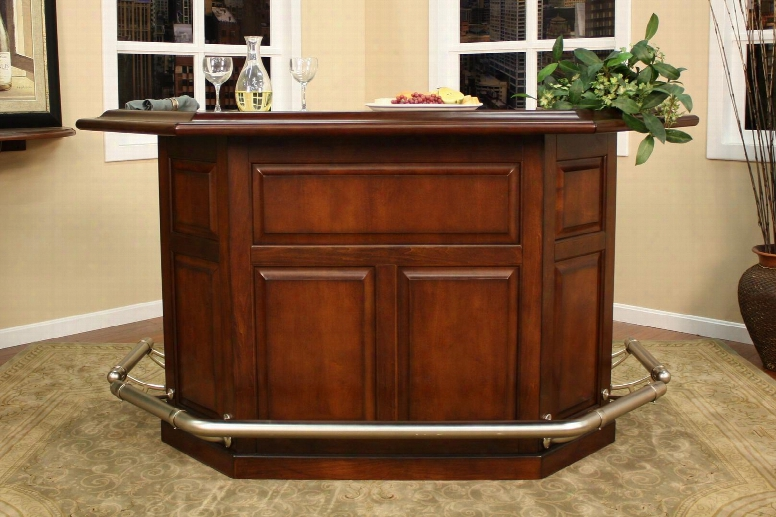 Augusta Series 600029sd-s Home Bar With Lockable Storage Cabinets Removable Wine Storage Rack Open Shelvig And Dual Cut Corner Space Saving Design In Suede