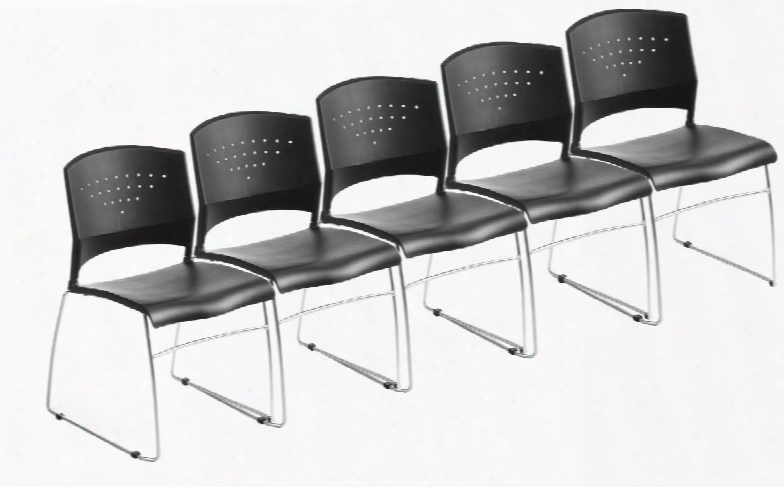 B1400-bk-5 Set Of  5 Stack Chair With Chrome Frame And Sculpted Seat Back In