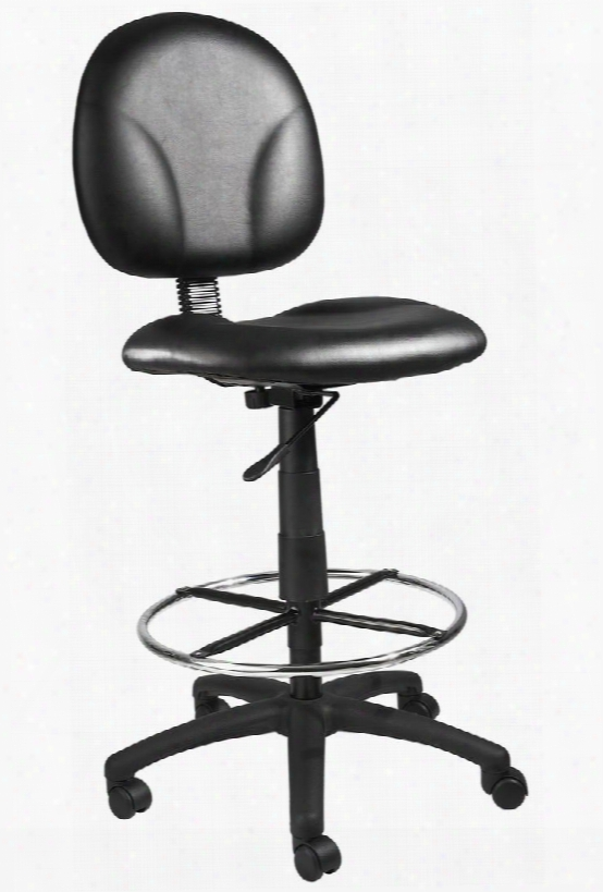 """B1690-cs 39"""" Drafting Stools With Footring Contoured Back And Seat Seat Height Adjustment 27"""" Nylon Base Hooded Double Wheel Casters In Black"""