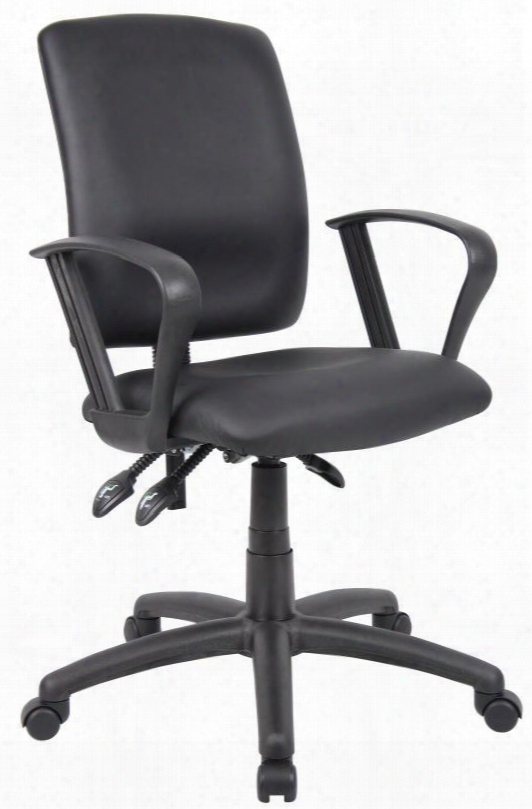 """B3047 35"""" Multi-function Task Chair With Loop Arms Back Angle Lock Seat Tilt Lock Seat Height Adjustment 27"""" Nylon Base And Hooded Double Wheel Casters  In"""