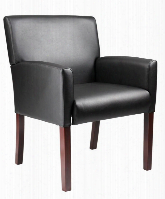 """B629m 36"""" Reception Box Arm Chair Upholstered In Durable Caressoft Upholstery In Mahogany"""