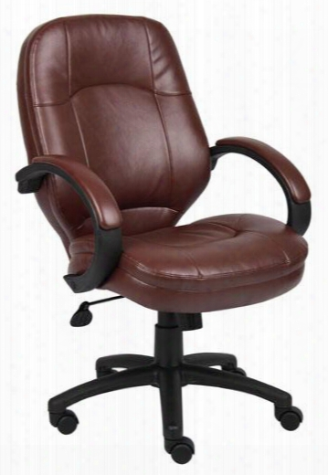 "B726-bb 40"" Contemporary Executive Chair With Black Arms Padded Armrests 25"" Nylon Bas Ehooded Wheel Casters And Seat Height Adjustment In Bomber Brown"