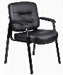 """B7509 35"""" Mid-Back Guest Chair with Passive Ergonomic Seating Built-in Lumbar Support Padded Armrests and Black Steel Legs in Black Caressoft"""