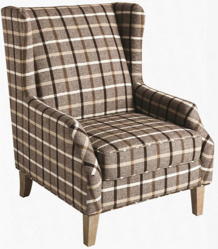 "Accents Collection 904052 19"" Accent Chair With Wing Back Plaid Design Sinuous Spring Seating Solid Pine Construction And Flat Weave Fabric Upholstery In"