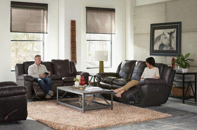 Aria Collection 4191-1283-09/3083-09set 3 Pc Living Room Set With Lay Flat Reclining Sofa + Loveseat + Recliner In Chocolate