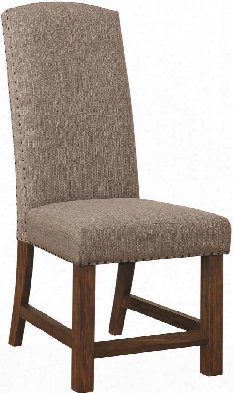 """Atwaer Collection 107724 19"""" Side Chair With Decorative Nailhead Grey Fabric Upholstery And Acacia Wood Construction In Vintage Bourbon"""