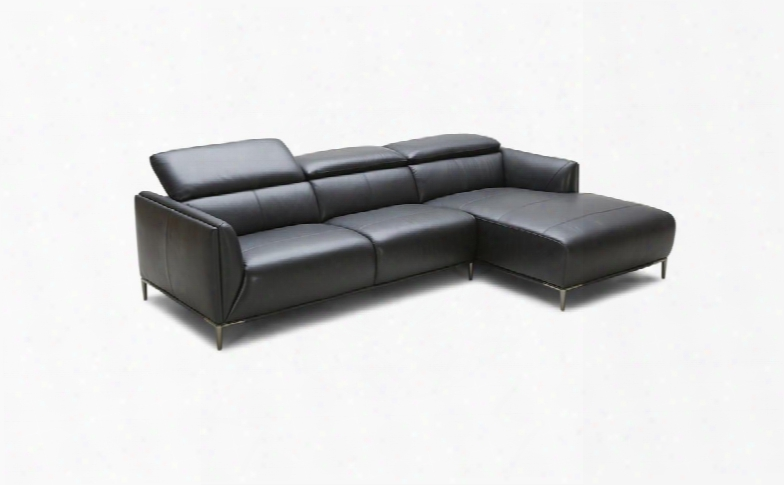 "Divani Casa Belfast Collection Vgkk5167b-blk 103"" 2-piece Leather Sectional Sofa With Left Arm Facing Sofa And Right Arm Facing Chaise In"