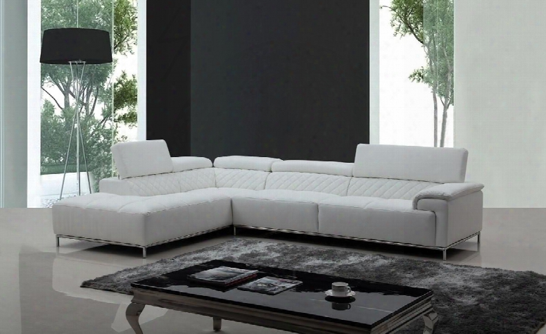 "Divani Casa Citadel Collection Vgknk8482-eco-wht-noaudio 118"" 2-piece Eco-leather Sectional Sofa With Left Arm  Facing Chaise And Right Arm Facing Sofa In"