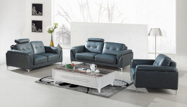Divani Casa Markham Collection Vgbnsbl-9211-gry 3-piece Sofa Set With Bonded Leather Upholstery Unsullied Steel Legs And Tufted Backrest In
