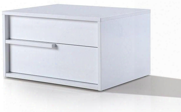 "Dolce Collection Tc-0210-l-n-wh 25"" Nightstand With 2 Drawers Left Hand Facing Handle Medium-density Fiberboard (mdf) And High Gloss Lacquer In White"
