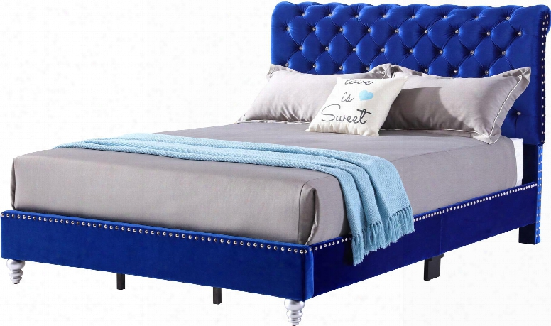 """Fabiane Collection G1943--fb-up Full Size Bed With Sea Tufted With Velvet Like Micro """"jewel"""" Like Buttons And Wood Feet In Cobal"""