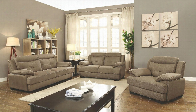 G480 Collection G486set 3 Pc Living Room Set With Sofa + Loveseat + Armchair In Wheat