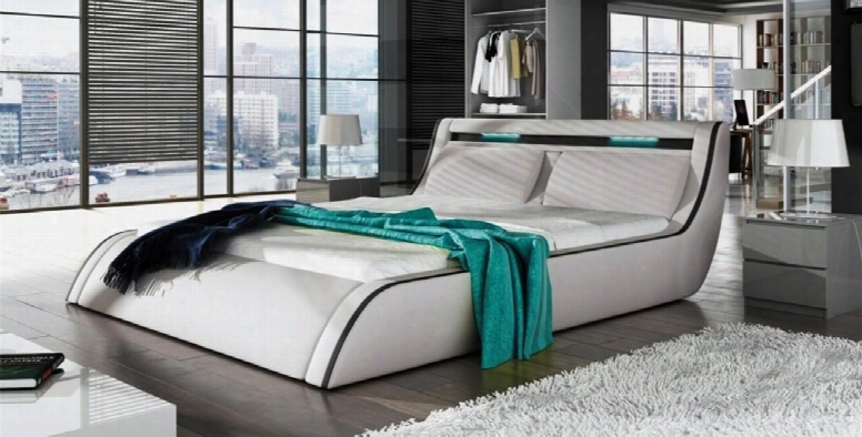 Go-corfu Coollection Sf-859-q-w Queen Size Bed With Lift Storage Tall Wide Tufted Headrest And Leatherette In