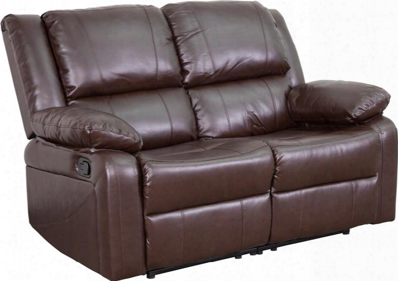 "Harmony Series Bt-70597-ls-bn-gg 56"" Brown Leather Loveseat With Two Built-in Recliners Leathersoft Upholstery And Pillow Top Arms In"