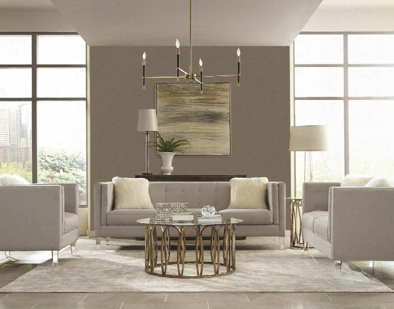 Hemet Collection 5062115set 5 Pc Livi Ng Room Set With Sof A + Loveseat + Chair + Coffee Table + End Table In Light Grey