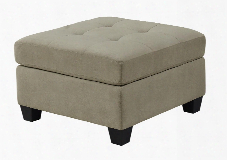 """I 8376tp 32"""" Ottoman With Tufted Top And Plastic Block Feet In Taupe"""