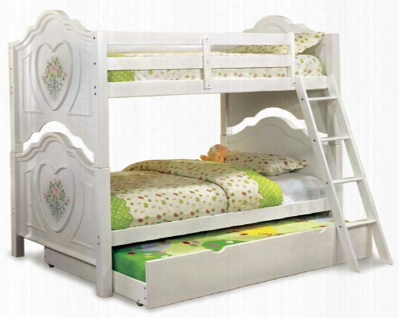 Isabella Iii Collection Cmbk119bedt 2 Pc Bedroom Set With Twin Size Bunk Bed + Trundle In White