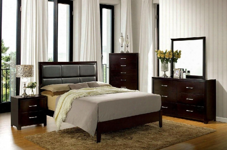 Janine Collectioon Cm7868ekbedset 5 Pc Bedroom Set With Eastern King Size Panel Bed + Dresser + Mirror + Chest + Nightstand In Espress O