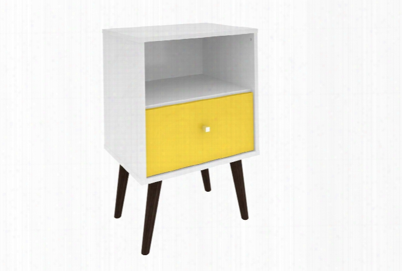 """Liberty Collection 203amc63 18"""" Mid Century - Modern Nightstand 1.0 With Splayed Legs 1 Cubby Spafe And 1 Drawer In White And"""