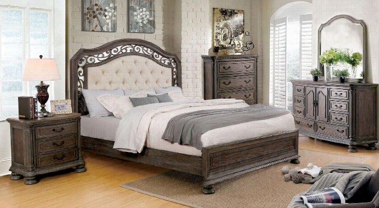 Persephone Collection Cm7661qbedset 5 Pc Bedroom Set With Queen Size Panel Bed + Dresser + Mirror + Chest + Nightstand In Rustic Natural