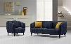DeLuca DELUCASCBU Midnight Blue Fabric Sofa & Chair 2PC