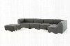 """Divani Casa Hawthorn Collection VGKK2388-RAF-D-240 143"""" 5-Piece Fabric Sectional with Corner Chair 2x Armless Chairs Ottoman and Right Arm Facing Chaise in"""